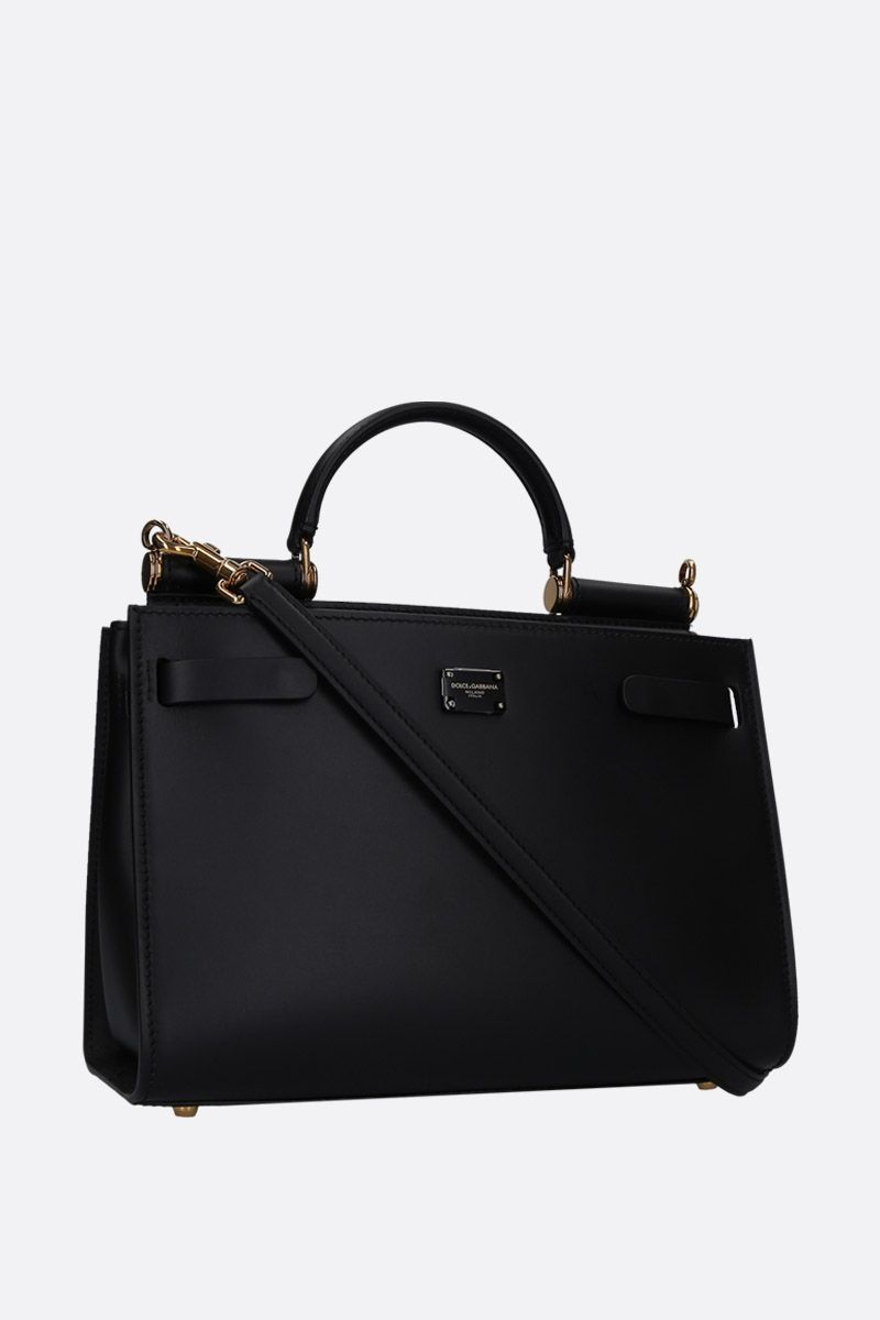 DOLCE & GABBANA: Sicily 62 small top handle bag in smooth leather Color Black_2
