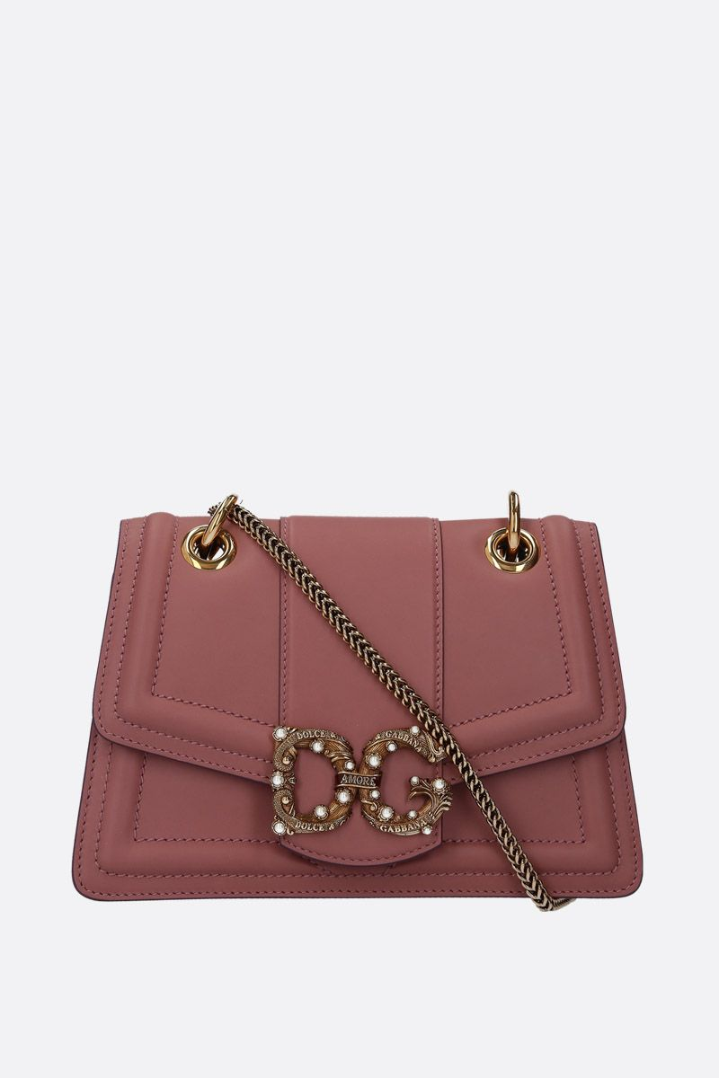 DOLCE & GABBANA: DG Amore chain bag in smooth leather Color Pink_1