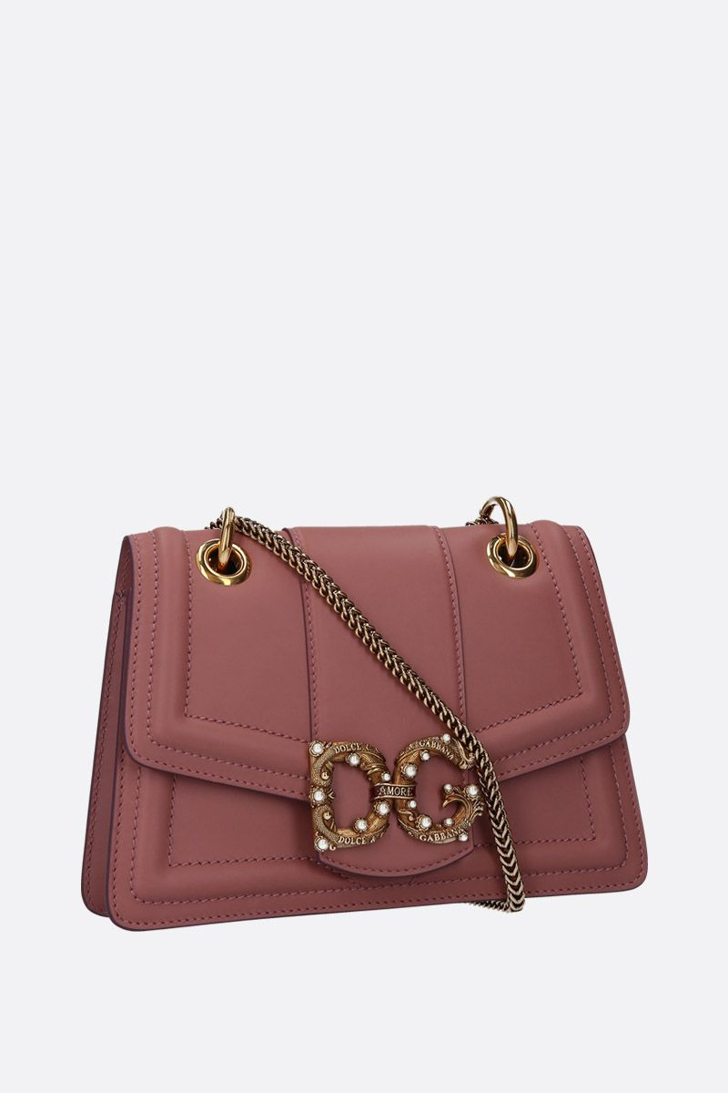 DOLCE & GABBANA: DG Amore chain bag in smooth leather Color Pink_2