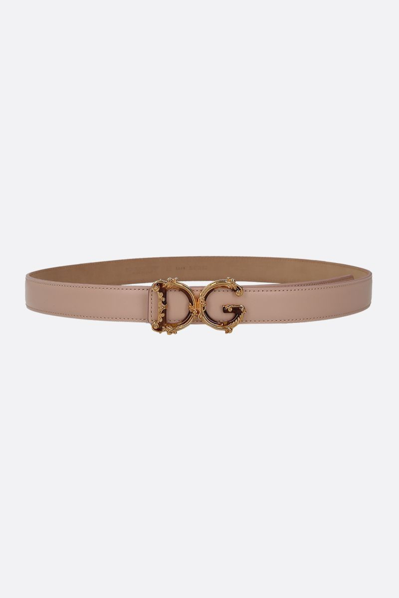DOLCE & GABBANA: DG Baroque buckle-detailed smooth leather belt Color Pink_1