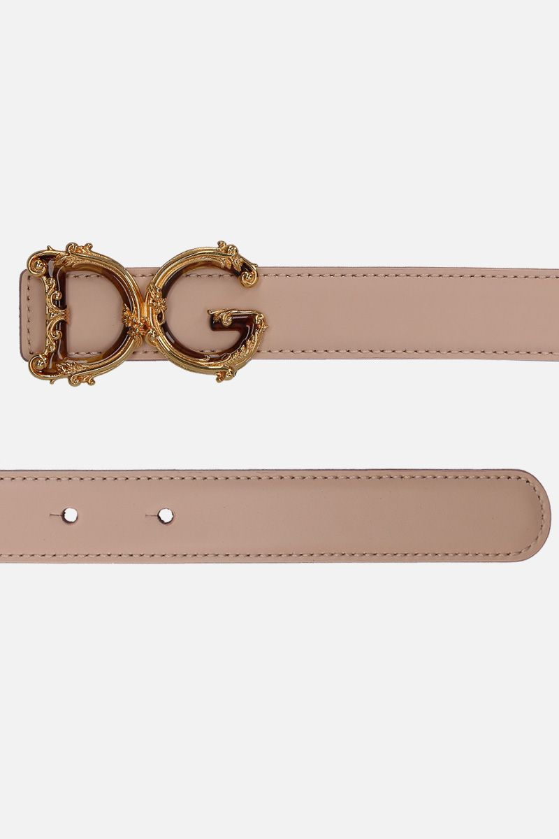 DOLCE & GABBANA: DG Baroque buckle-detailed smooth leather belt Color Pink_2