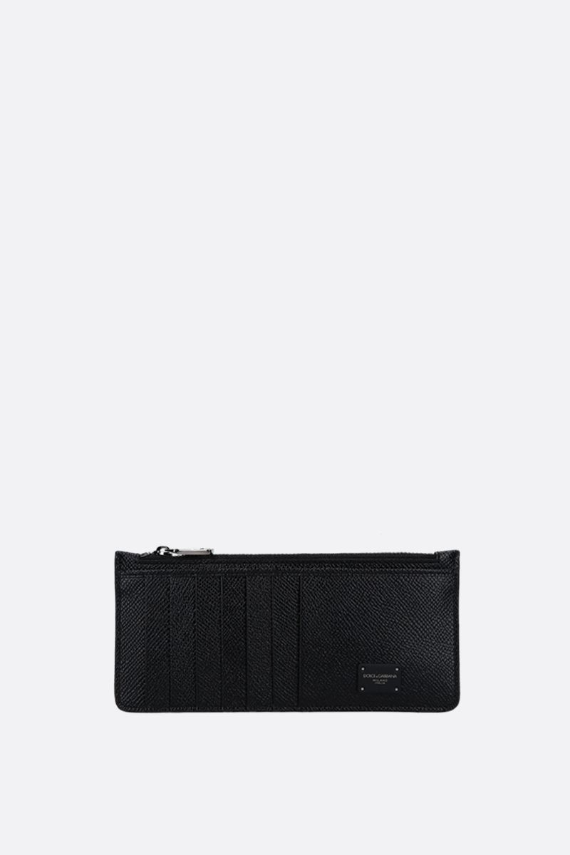 DOLCE & GABBANA: Dauphine leather zip card case Color Black_1