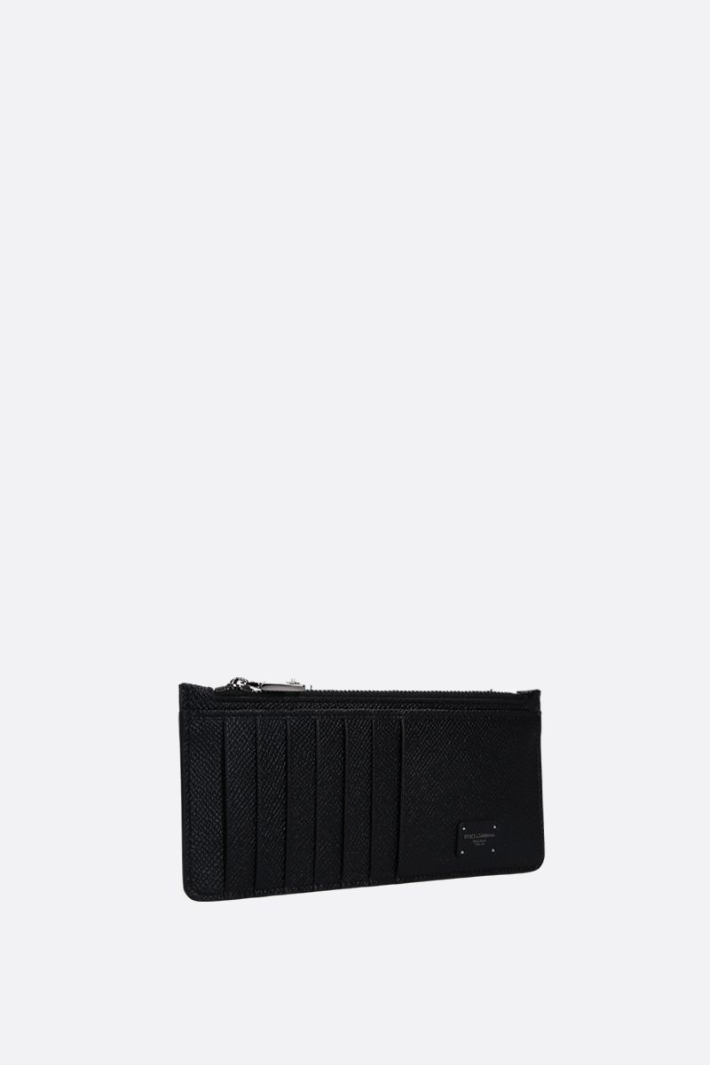 DOLCE & GABBANA: Dauphine leather zip card case Color Black_2