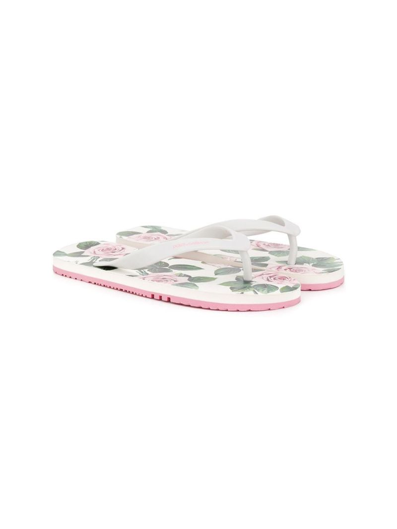 DOLCE & GABBANA CHILDREN: logo print rubber thong sandals_1