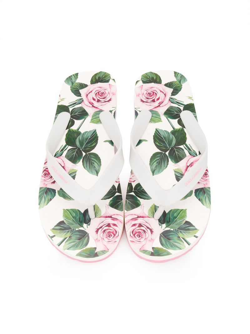 DOLCE & GABBANA CHILDREN: logo print rubber thong sandals_2