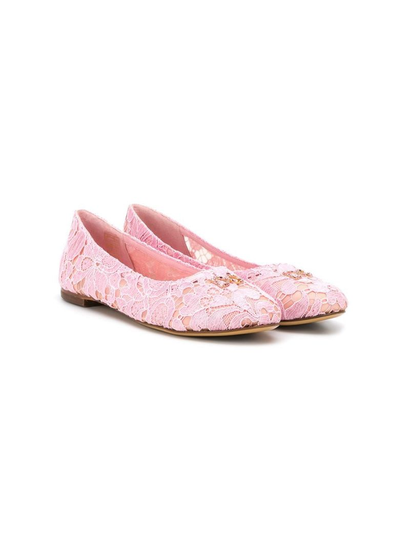 DOLCE & GABBANA CHILDREN: DG-detailed lace ballerinas_1