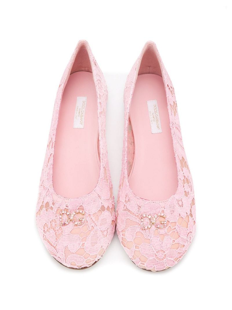 DOLCE & GABBANA CHILDREN: DG-detailed lace ballerinas_2
