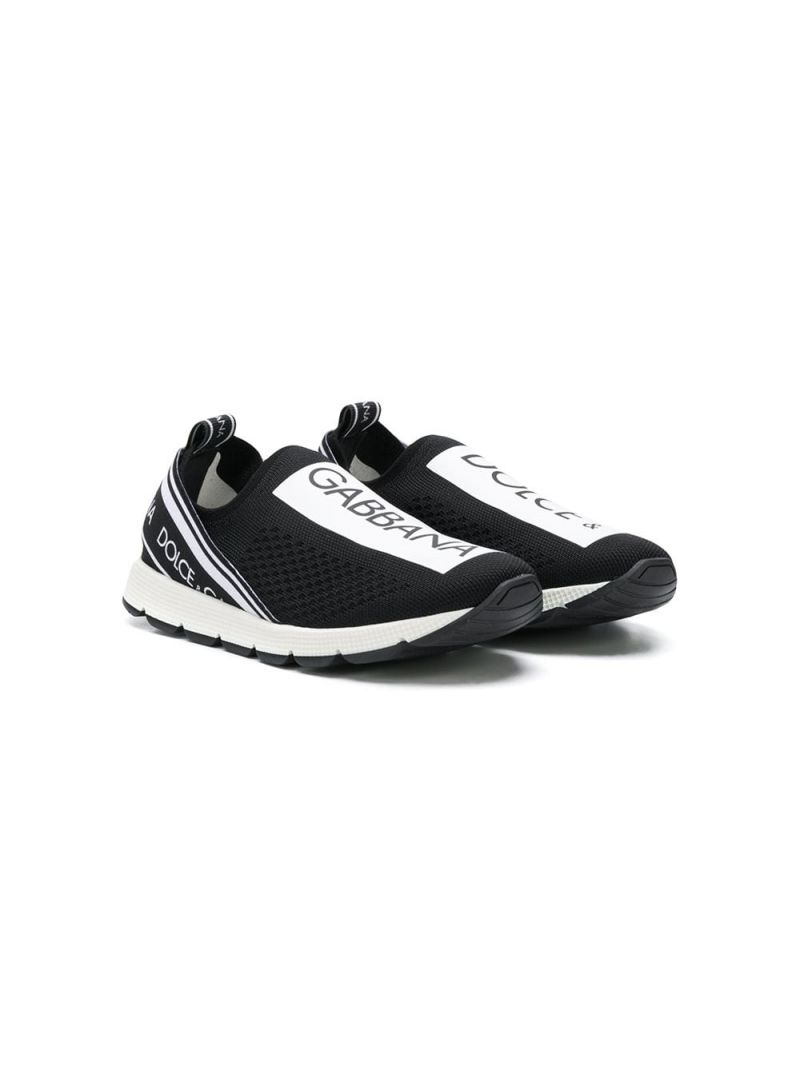 DOLCE & GABBANA CHILDREN: Sorrento sneakers in stretch knit Color Black_1