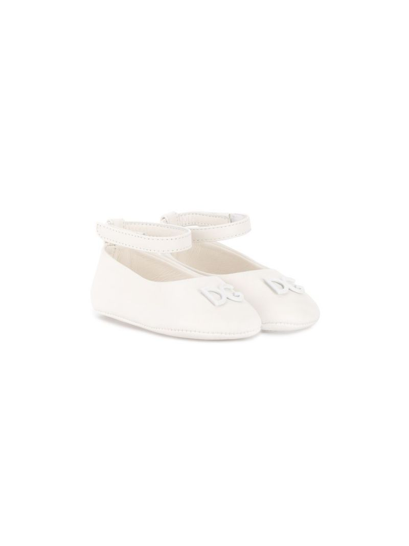 DOLCE & GABBANA CHILDREN: DG-detailed nappa leather ballerinas Color White_1