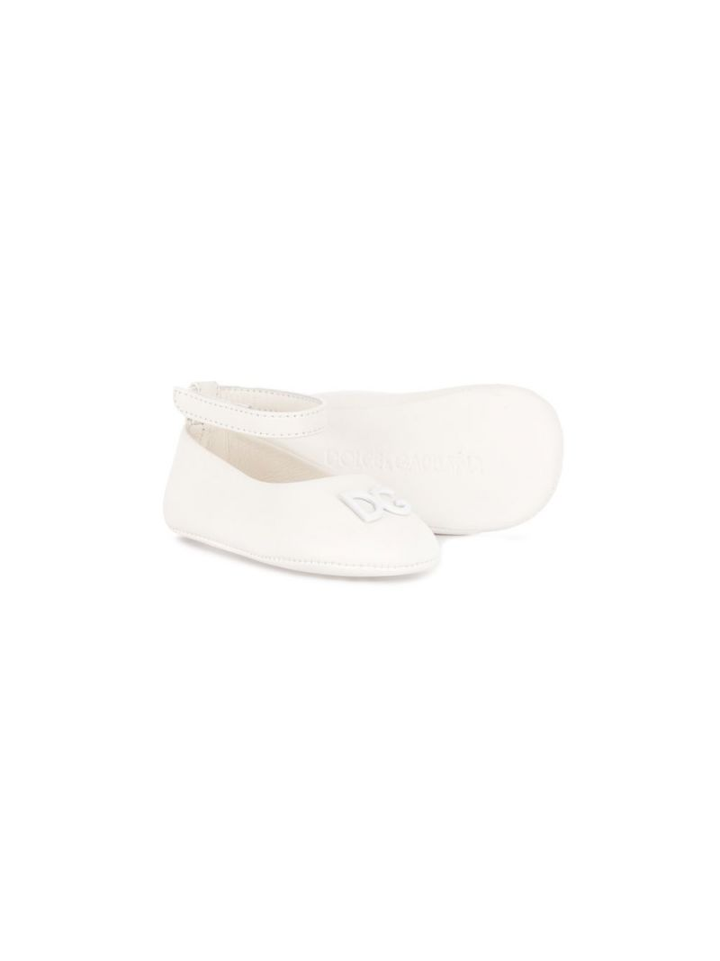 DOLCE & GABBANA CHILDREN: DG-detailed nappa leather ballerinas Color White_2