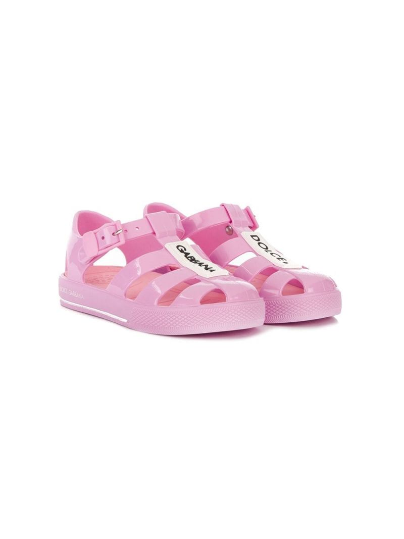 DOLCE & GABBANA CHILDREN: PVC cage flat sandals Color Pink_1