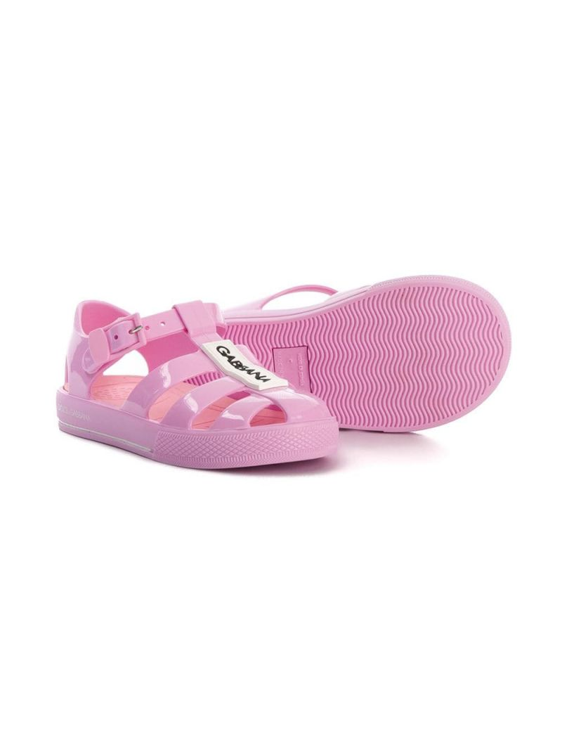 DOLCE & GABBANA CHILDREN: PVC cage flat sandals Color Pink_2