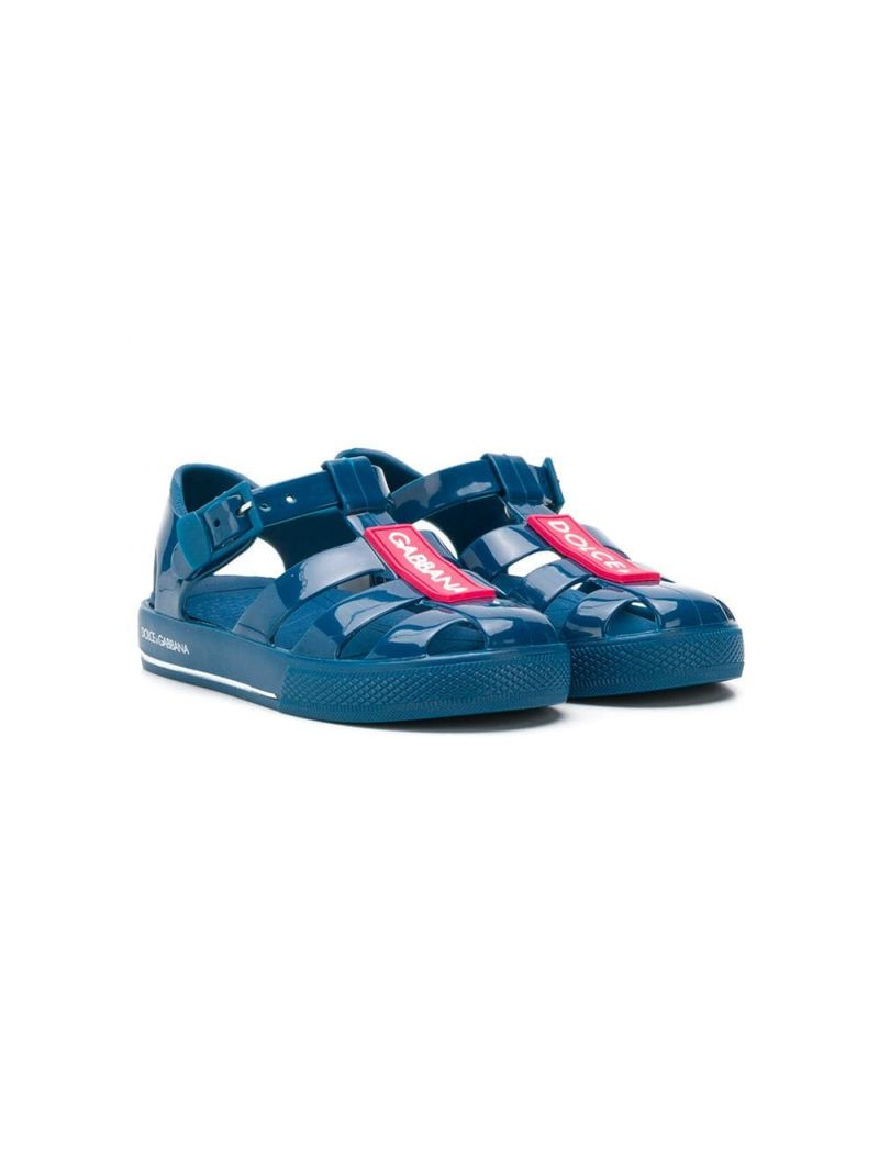 DOLCE & GABBANA CHILDREN: logoed rubber flat sandals Color Blue_1