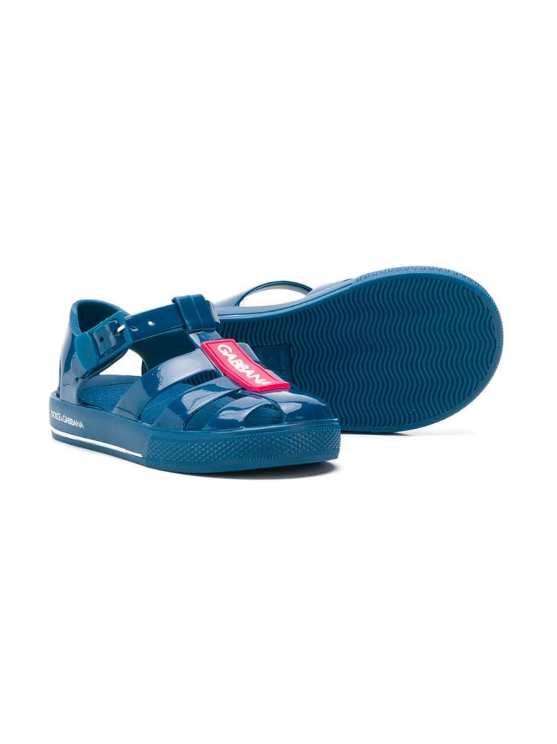 DOLCE & GABBANA CHILDREN: logoed rubber flat sandals Color Blue_2