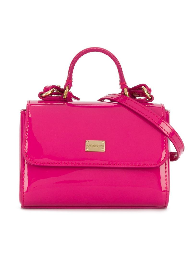 DOLCE & GABBANA CHILDREN: logo plate-detailed patent leather handbag Color Pink_1