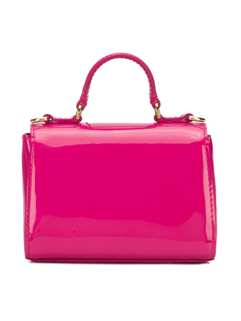 DOLCE & GABBANA CHILDREN: logo plate-detailed patent leather handbag Color Pink_2