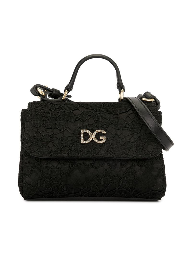 DOLCE & GABBANA CHILDREN: DG-detailed lace handbag Color Black_1