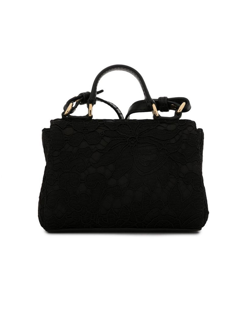 DOLCE & GABBANA CHILDREN: DG-detailed lace handbag Color Black_2