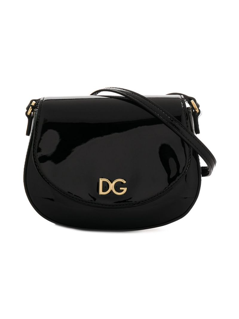 DOLCE & GABBANA CHILDREN: DG-detailed patent leather crossbody bag Color Black_1