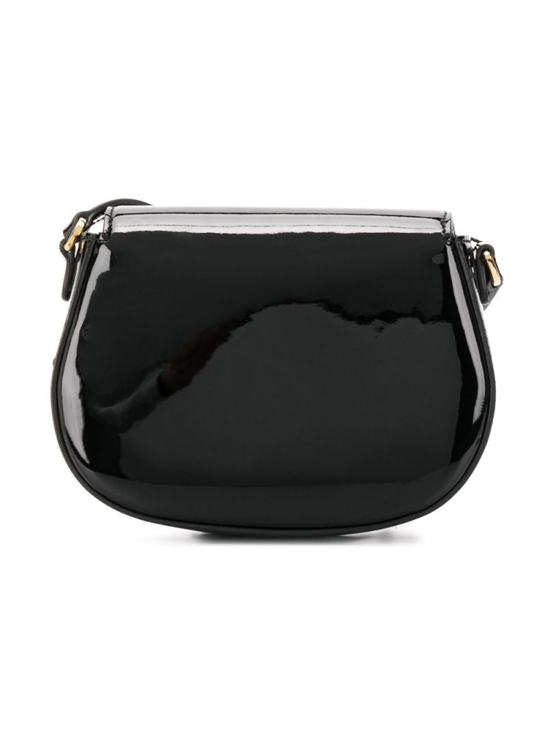 DOLCE & GABBANA CHILDREN: DG-detailed patent leather crossbody bag Color Black_2