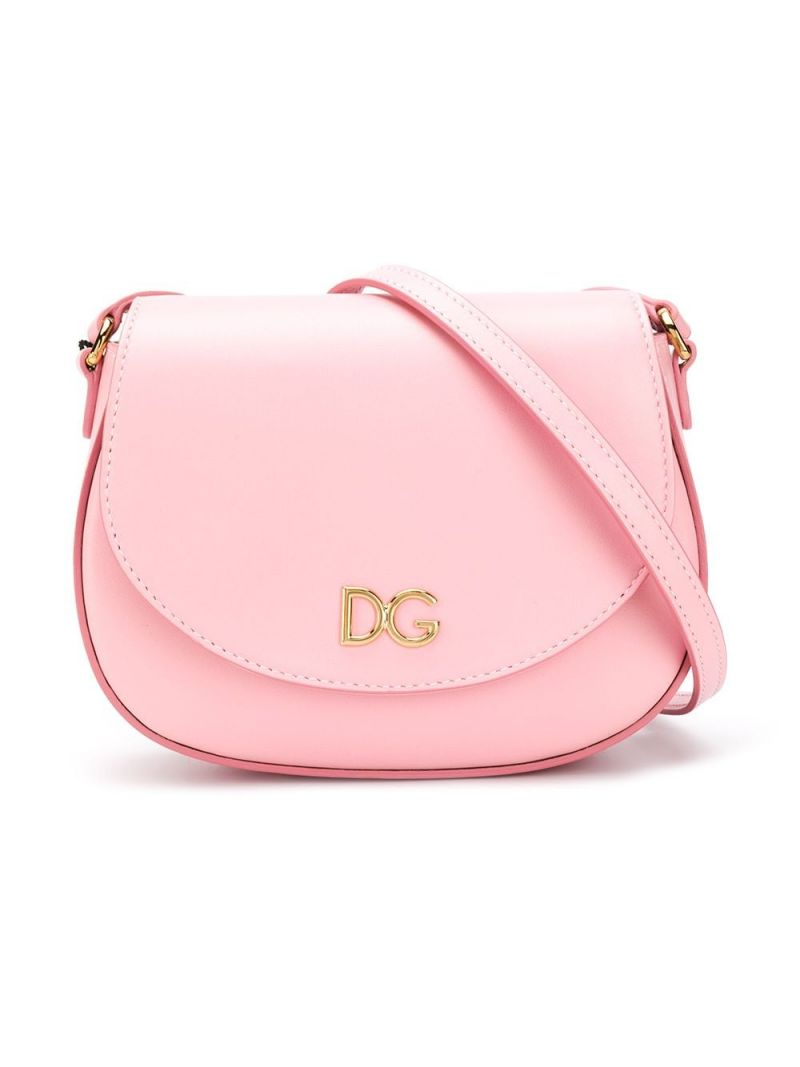 DOLCE & GABBANA CHILDREN: DG-detailed smooth leather shoulder bag Color Pink_1