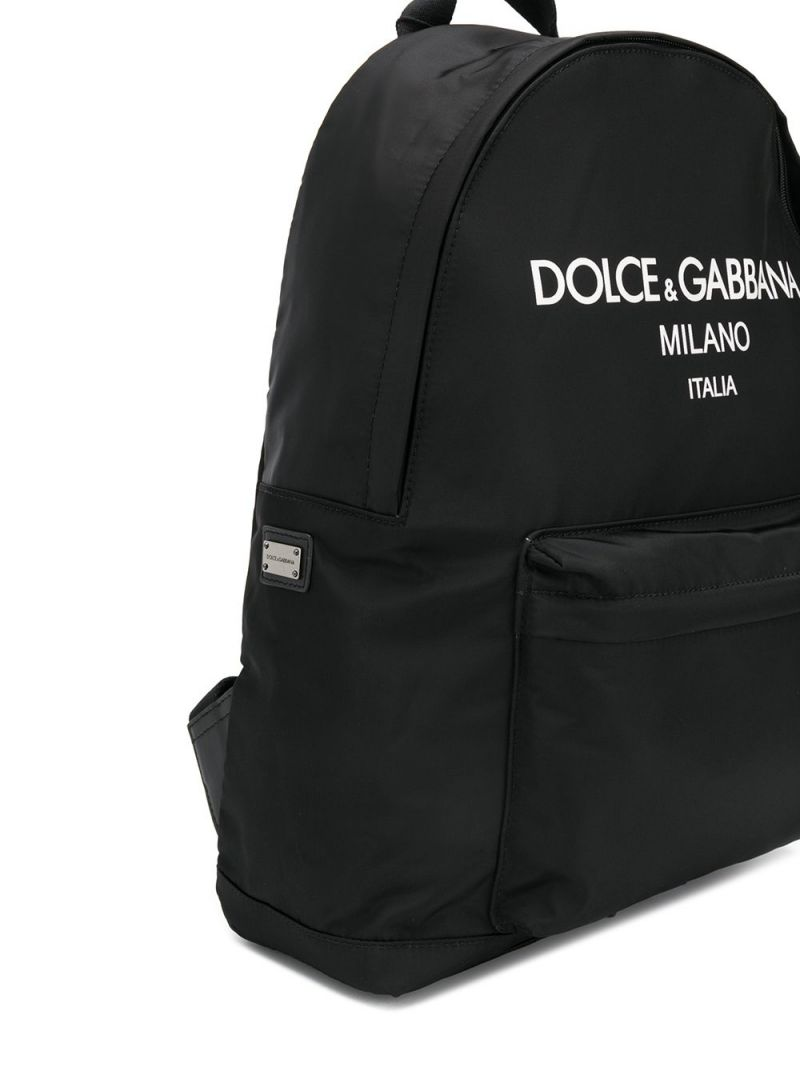 DOLCE & GABBANA CHILDREN: logo print nylon backpack Color Black_2