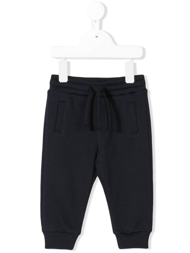 DOLCE & GABBANA CHILDREN: logo plate-detailed cotton joggers Color Pink_1