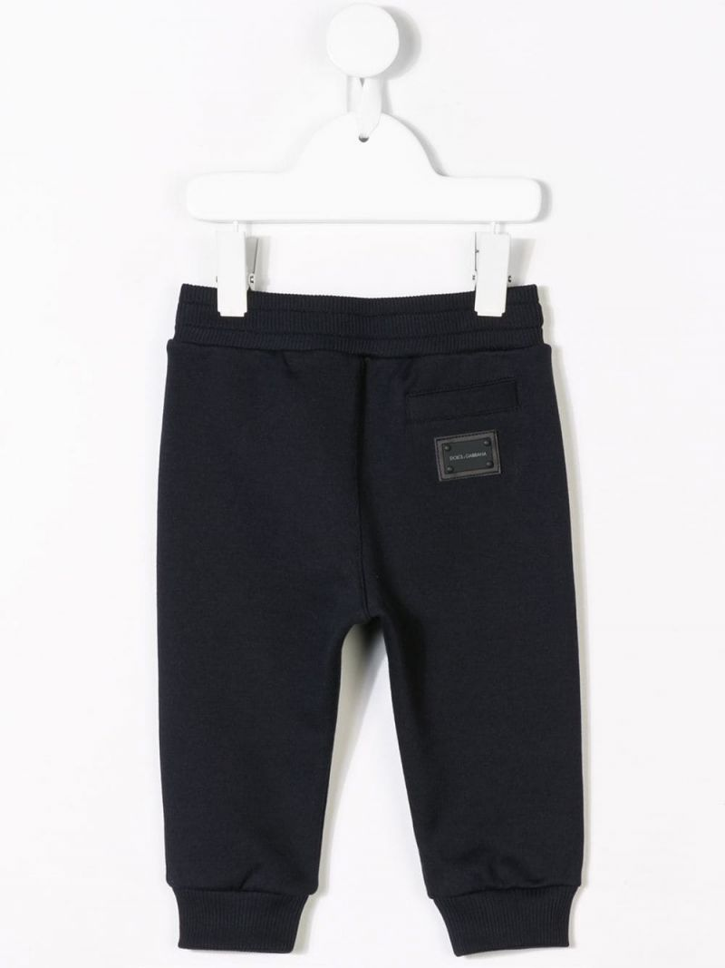 DOLCE & GABBANA CHILDREN: logo plate-detailed cotton joggers Color Pink_2