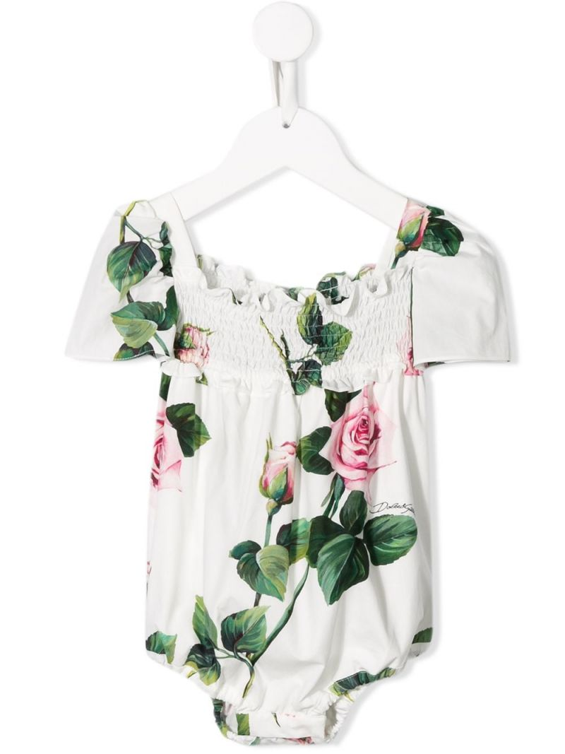 DOLCE & GABBANA CHILDREN: Tropical Rose print cotton romper suit Color Pink_1