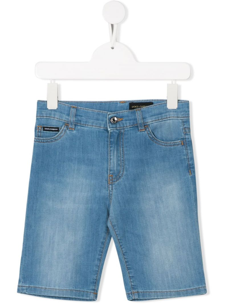 DOLCE & GABBANA CHILDREN: logo-detailed stretch denim shorts Color Blue_1