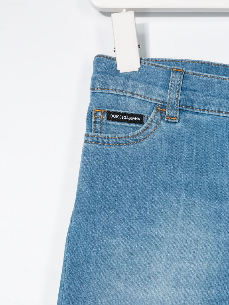 DOLCE & GABBANA CHILDREN: logo-detailed stretch denim shorts Color Blue_2