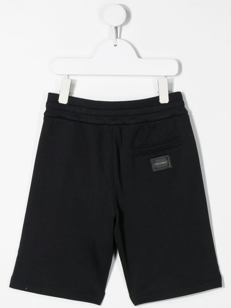 DOLCE & GABBANA CHILDREN: logo-detailed cotton shorts Color Blue_2