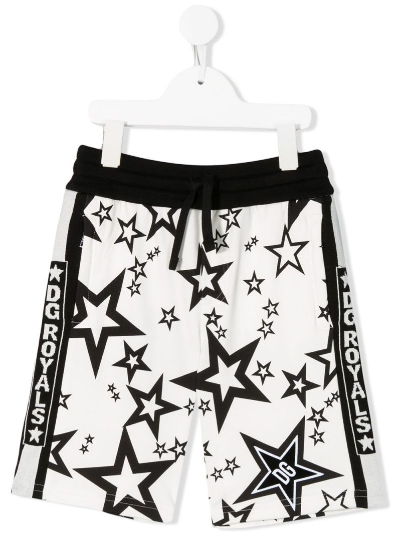 DOLCE & GABBANA CHILDREN: stars printed cotton shorts Color White_1