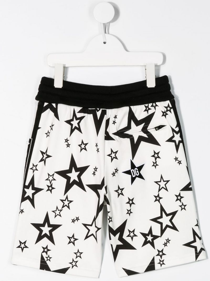 DOLCE & GABBANA CHILDREN: stars printed cotton shorts Color White_2