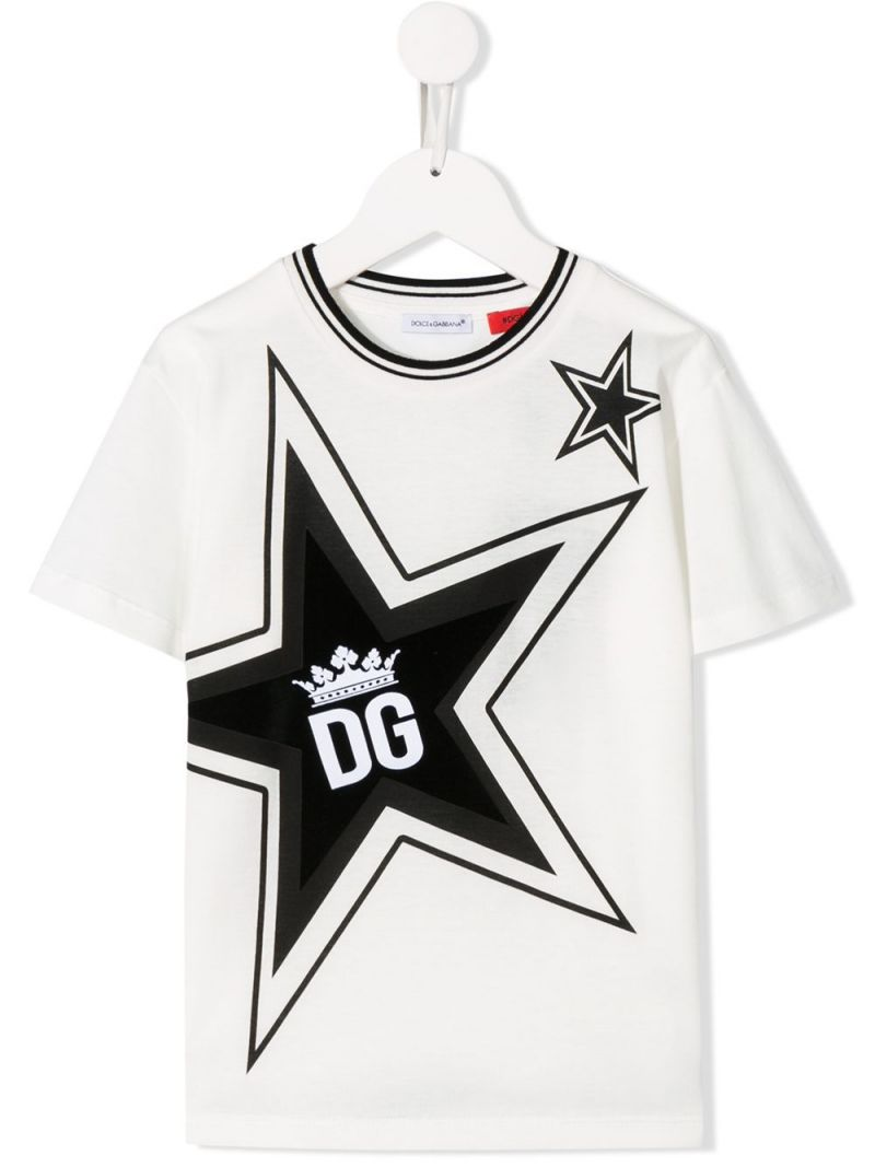 DOLCE & GABBANA CHILDREN: large star print cotton t-shirt Color White_1