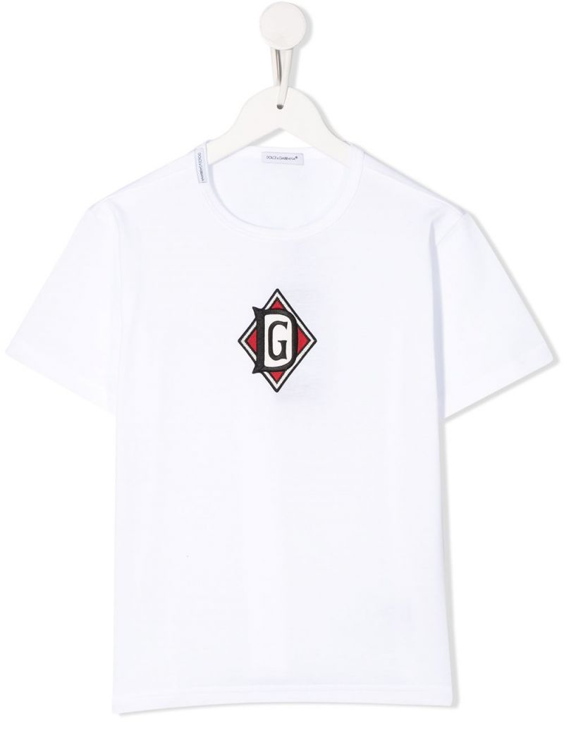 DOLCE & GABBANA CHILDREN: DG DNA patch-detailed jersey t-shirt Color White_1