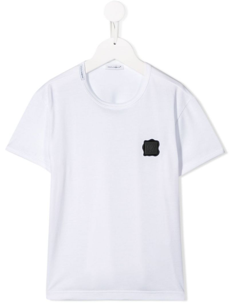 DOLCE & GABBANA CHILDREN: DG patch cotton t-shirt Color White_1