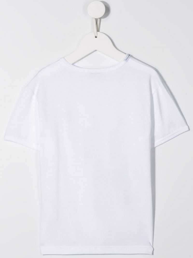 DOLCE & GABBANA CHILDREN: DG patch cotton t-shirt Color White_3
