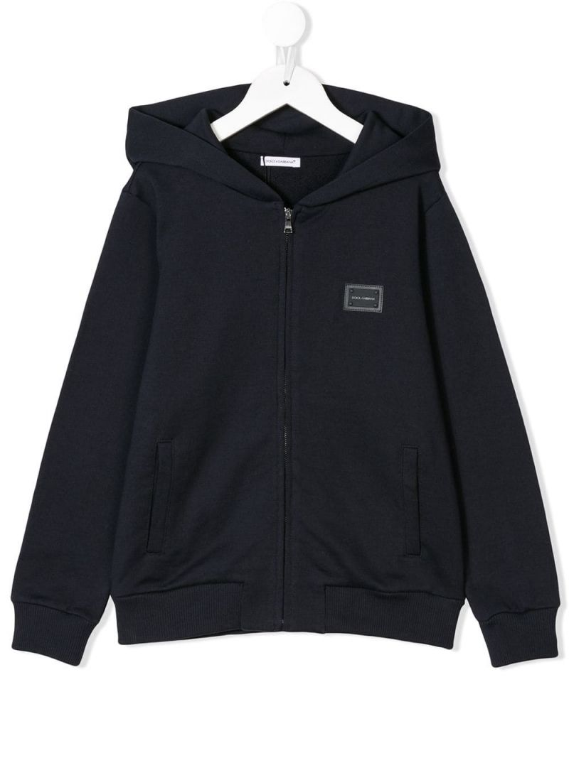 DOLCE & GABBANA CHILDREN: logo plate-detailed cotton full-zip hoodie Color Blue_1