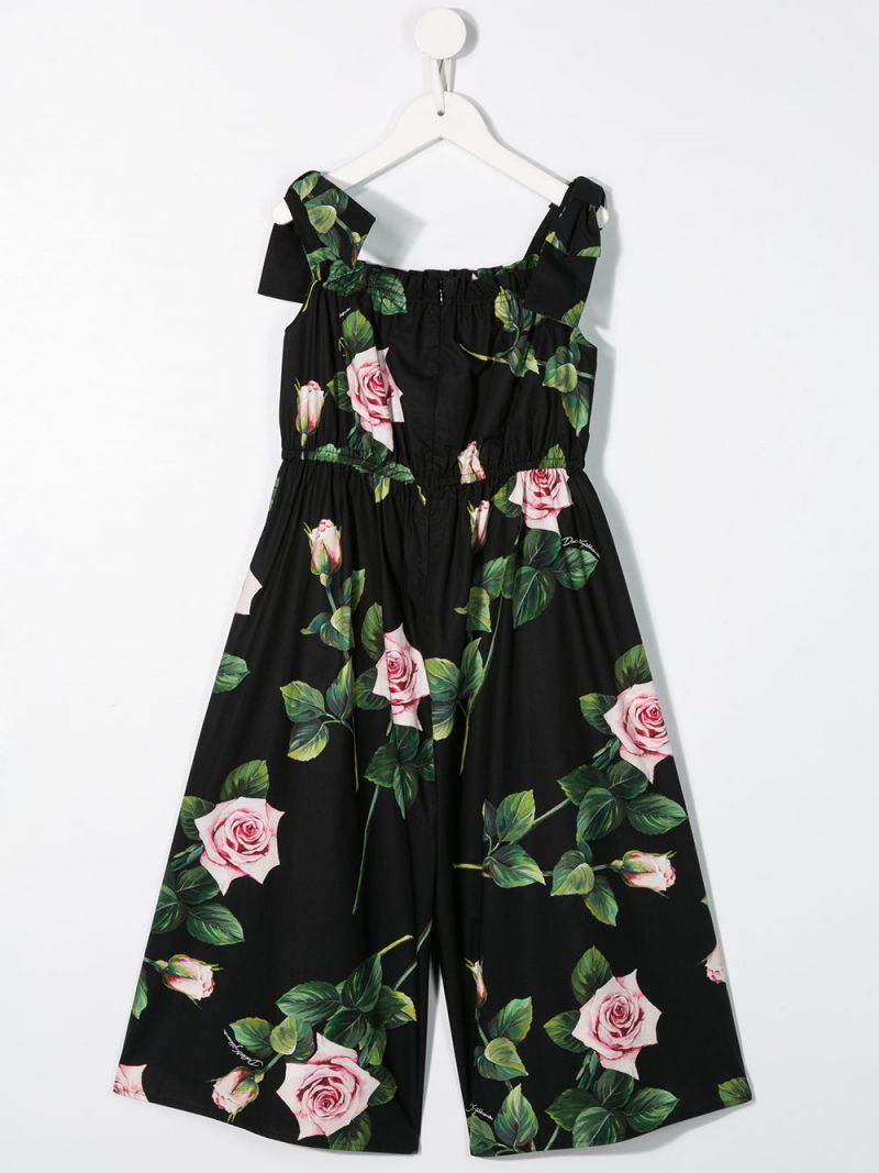 DOLCE & GABBANA CHILDREN: jumpsuit in cotone stampa Tropical Rose Colore Rosa_2