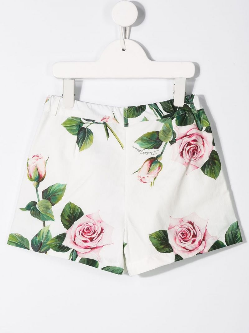 DOLCE & GABBANA CHILDREN: pantalone corto in cotone stampa Tropical Rose Colore Rosa_2