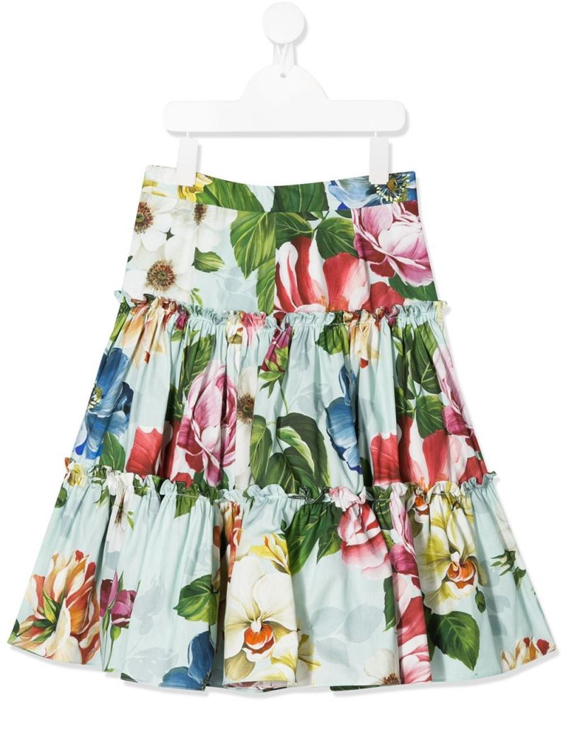 DOLCE & GABBANA CHILDREN: floral printed cotton flounced skirt_1