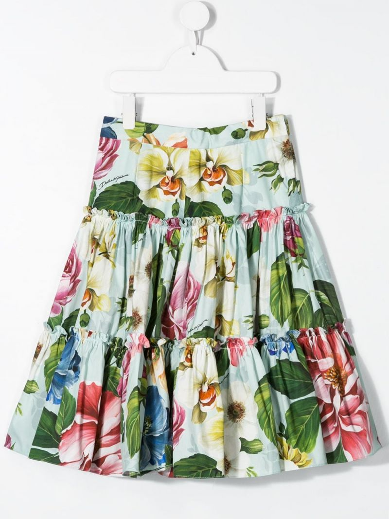 DOLCE & GABBANA CHILDREN: floral printed cotton flounced skirt_2
