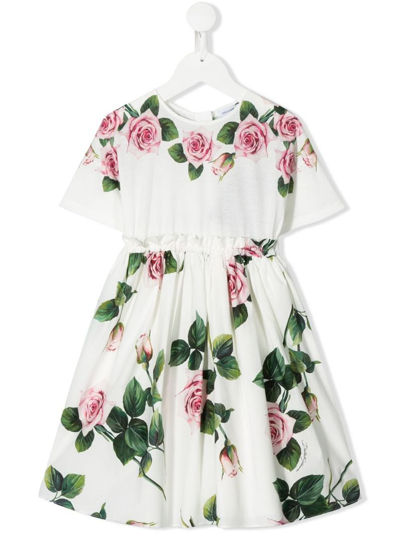 DOLCE & GABBANA CHILDREN: Tropical Rose printed cotton dress Color Pink_1