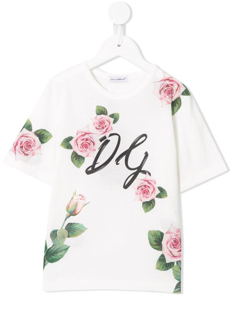 DOLCE & GABBANA CHILDREN: t-shirt in cotone stampa Tropical Rose Colore Rosa_1