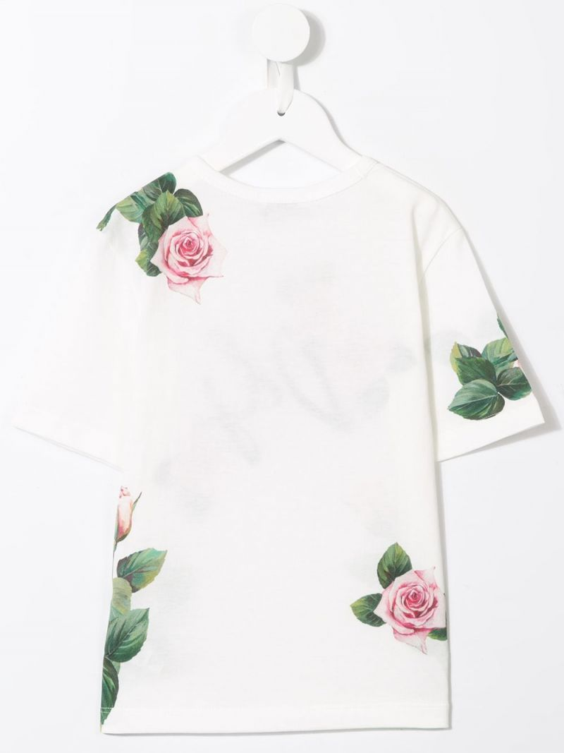 DOLCE & GABBANA CHILDREN: Tropical Rose print cotton t-shirt Color Pink_2