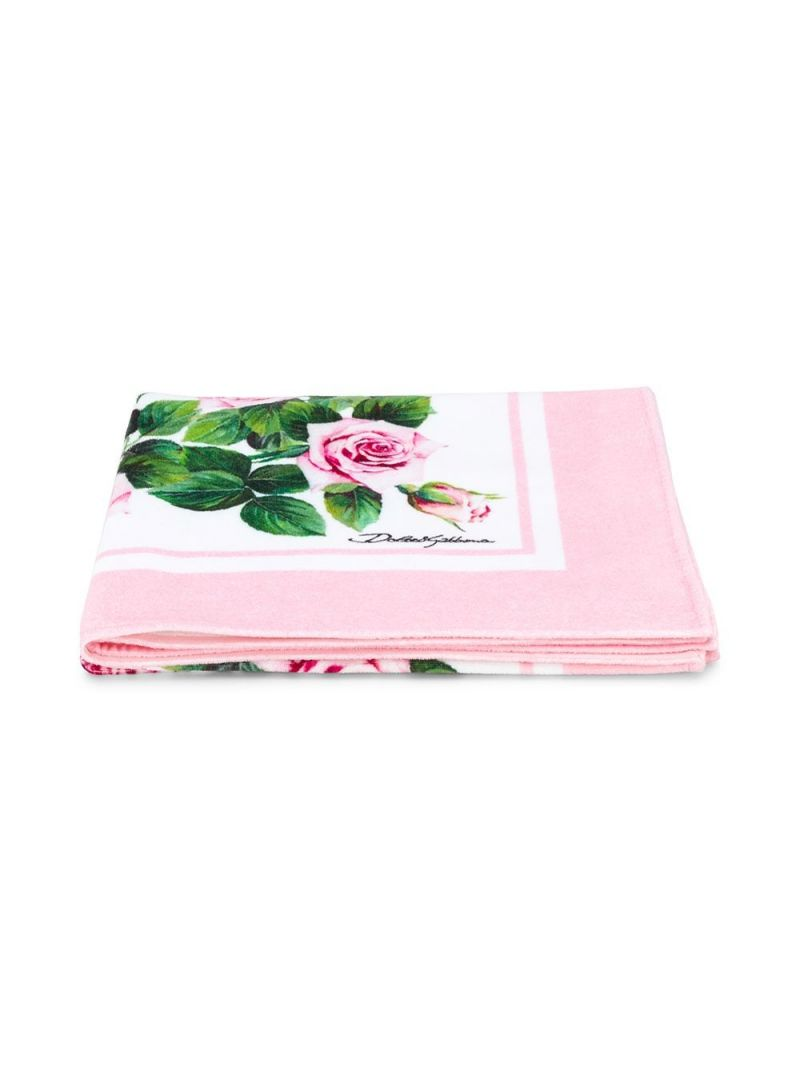 DOLCE & GABBANA CHILDREN: Tropical Rose print terry beach towel Color Pink_1