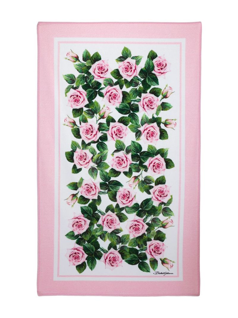DOLCE & GABBANA CHILDREN: Tropical Rose print terry beach towel Color Pink_2