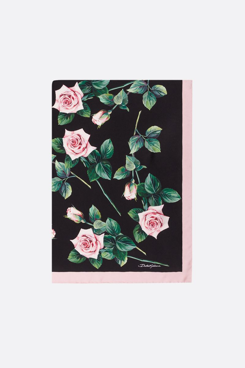 DOLCE & GABBANA: Tropical Rose printed twill foulard_1