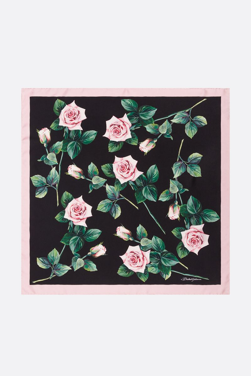 DOLCE & GABBANA: Tropical Rose printed twill foulard_2
